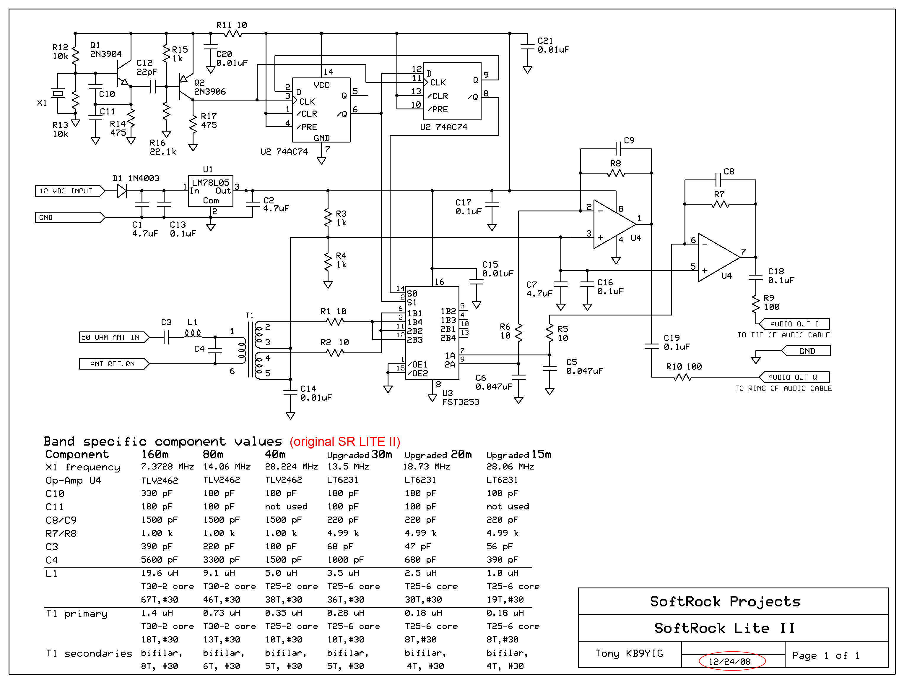 Wb5rvz Home Softrock Lite Ii Rx E Meter Circuit Diagram These Versions Were Described In The Common Schematic